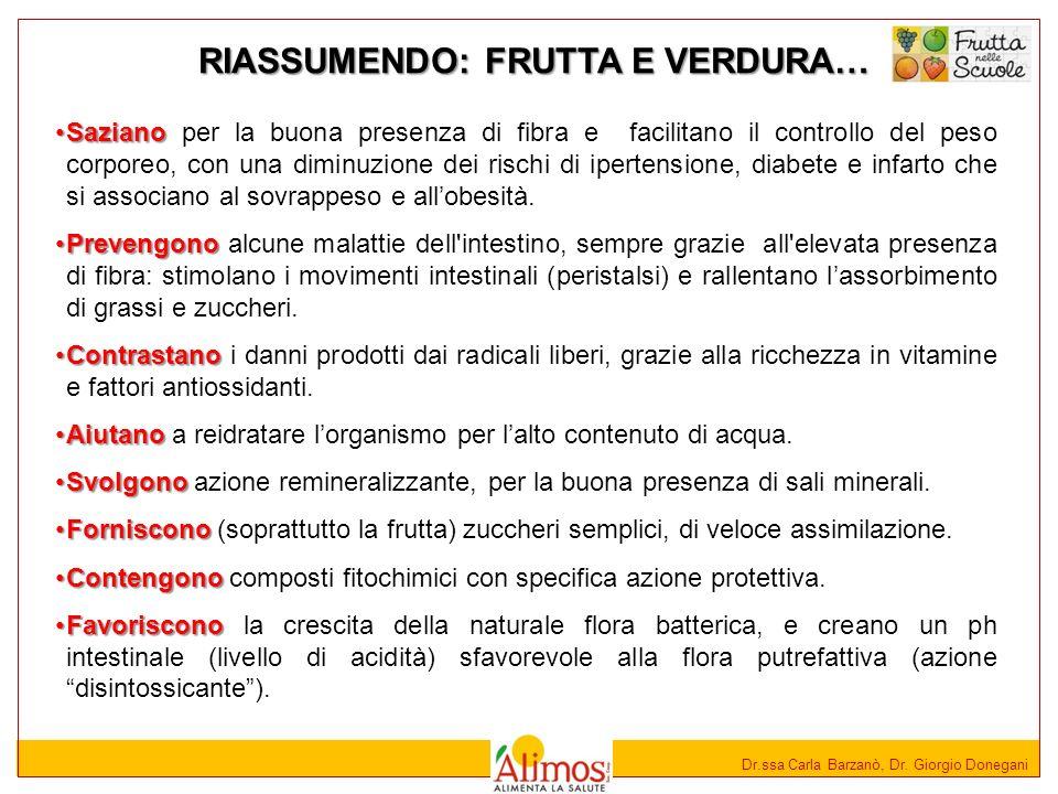Dr.ssa Carla Barzanò, Dr. Giorgio Donegani SazianoSaziano per la buona presenza di fibra e facilitano il controllo del peso corporeo, con una diminuzi