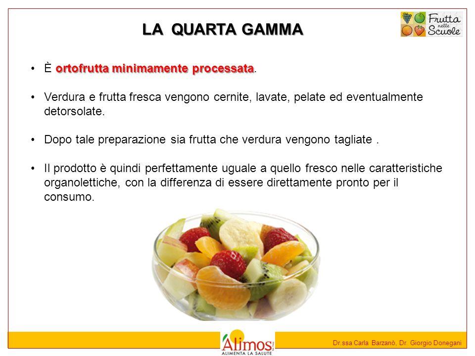 Dr.ssa Carla Barzanò, Dr. Giorgio Donegani LA QUARTA GAMMA ortofrutta minimamente processataÈ ortofrutta minimamente processata. Verdura e frutta fres