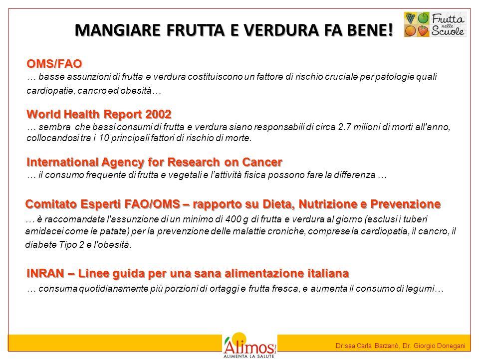 Dr.ssa Carla Barzanò, Dr. Giorgio Donegani MANGIARE FRUTTA E VERDURA FA BENE! International Agency for Research on Cancer … il consumo frequente di fr