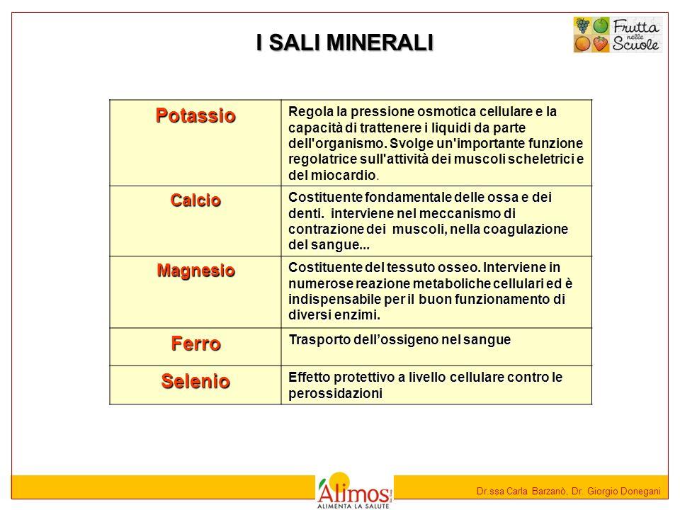 Dr.ssa Carla Barzanò, Dr. Giorgio Donegani I SALI MINERALI Potassio Regola la pressione osmotica cellulare e la capacità di trattenere i liquidi da pa