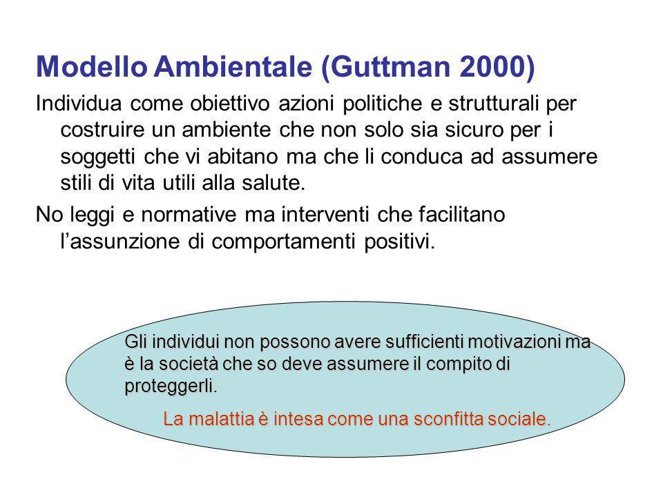 Modello Ambientale (Guttman 2000) Individua come obiettivo azioni politiche e strutturali per costruire un ambiente che non solo sia sicuro per i soggetti che vi abitano ma che li conduca ad assumere stili di vita utili alla salute.