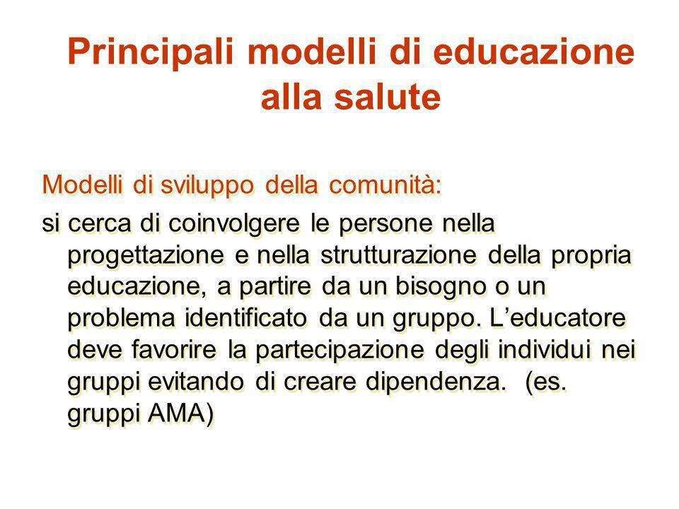 Modelli di sviluppo della comunità: si cerca di coinvolgere le persone nella progettazione e nella strutturazione della propria educazione, a partire