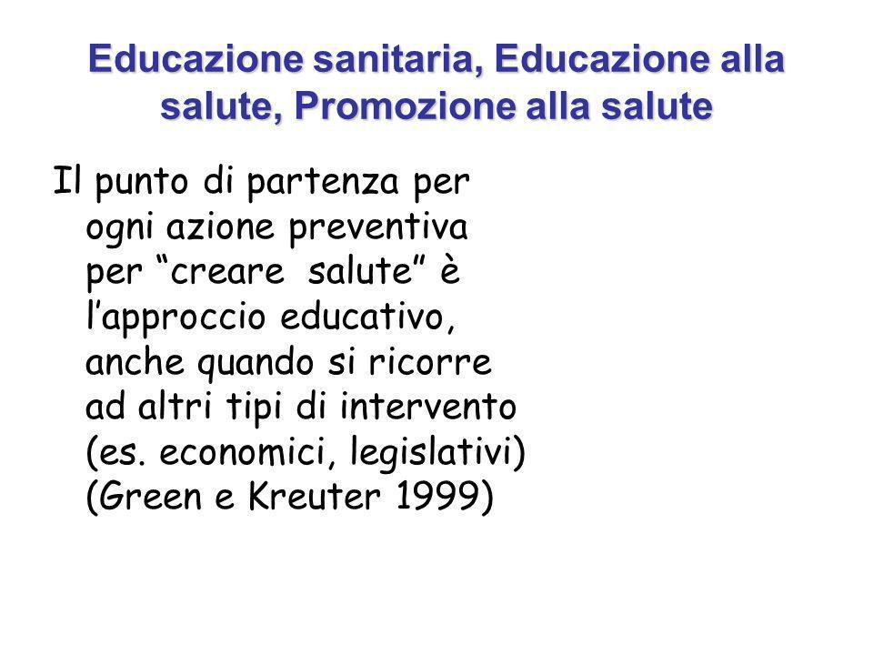 Educazione sanitaria, Educazione alla salute, Promozione alla salute Il punto di partenza per ogni azione preventiva per creare salute è lapproccio educativo, anche quando si ricorre ad altri tipi di intervento (es.