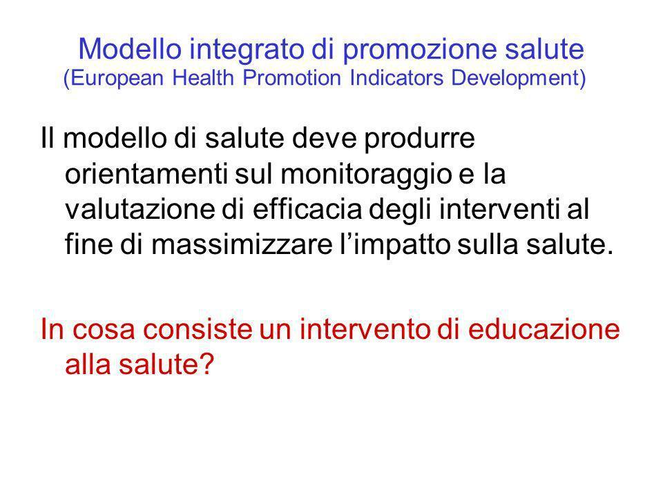 Modello integrato di promozione salute Il modello di salute deve produrre orientamenti sul monitoraggio e la valutazione di efficacia degli interventi