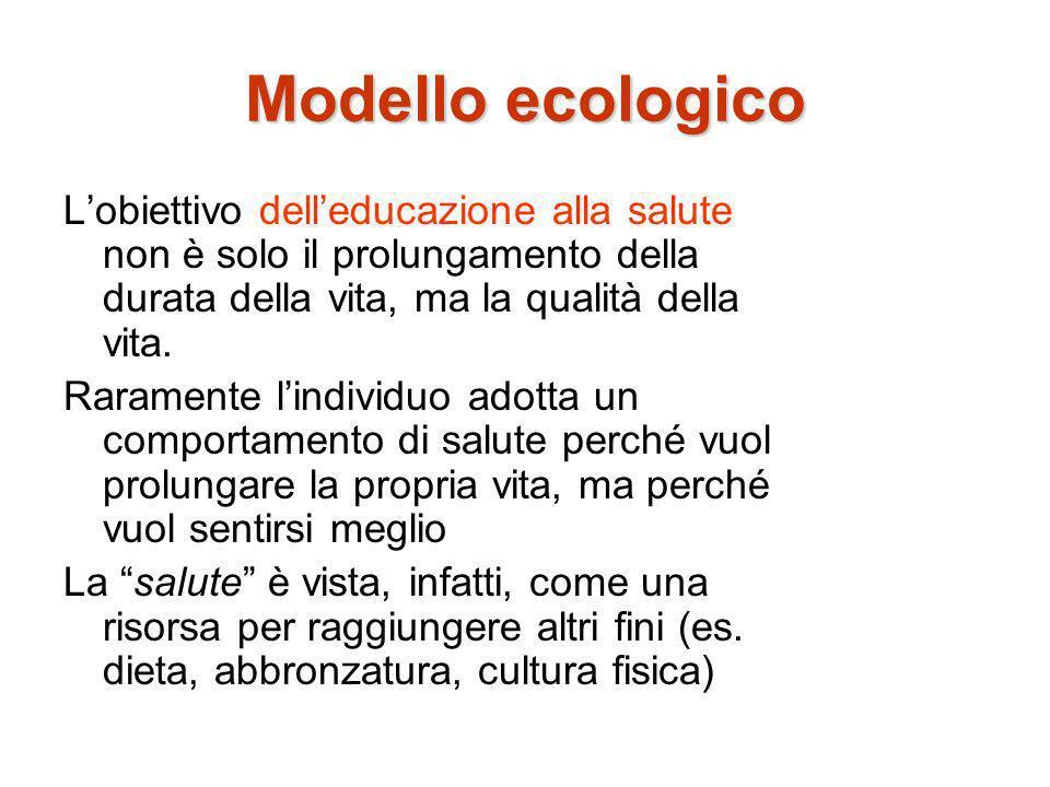 Modello ecologico Lobiettivo delleducazione alla salute non è solo il prolungamento della durata della vita, ma la qualità della vita. Raramente lindi