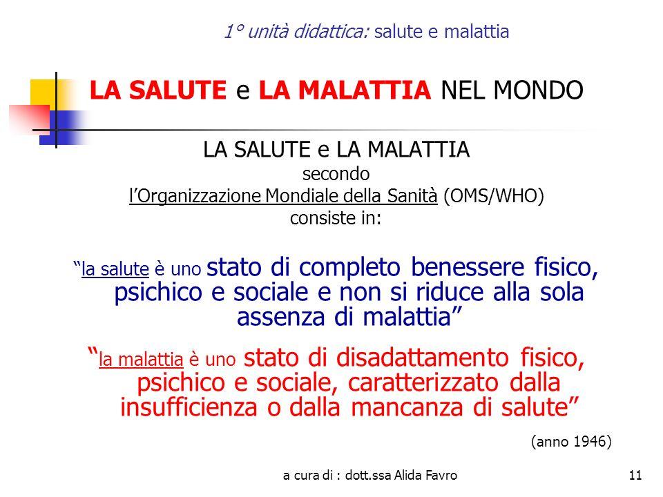 a cura di : dott.ssa Alida Favro11 1° unità didattica: salute e malattia LA SALUTE e LA MALATTIA NEL MONDO LA SALUTE e LA MALATTIA secondo lOrganizzaz