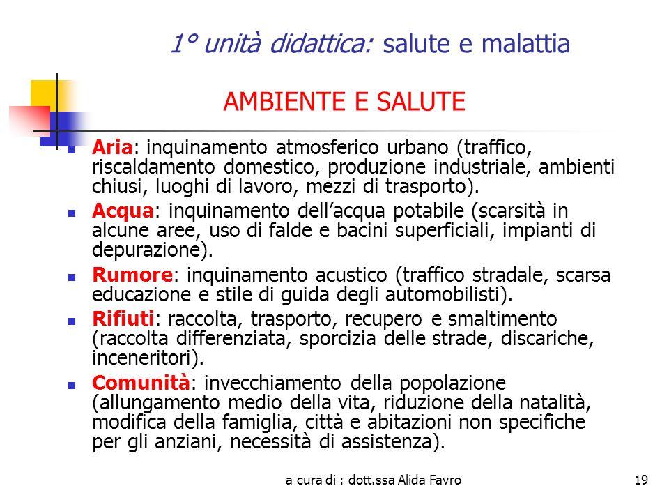 a cura di : dott.ssa Alida Favro19 AMBIENTE E SALUTE Aria: inquinamento atmosferico urbano (traffico, riscaldamento domestico, produzione industriale, ambienti chiusi, luoghi di lavoro, mezzi di trasporto).