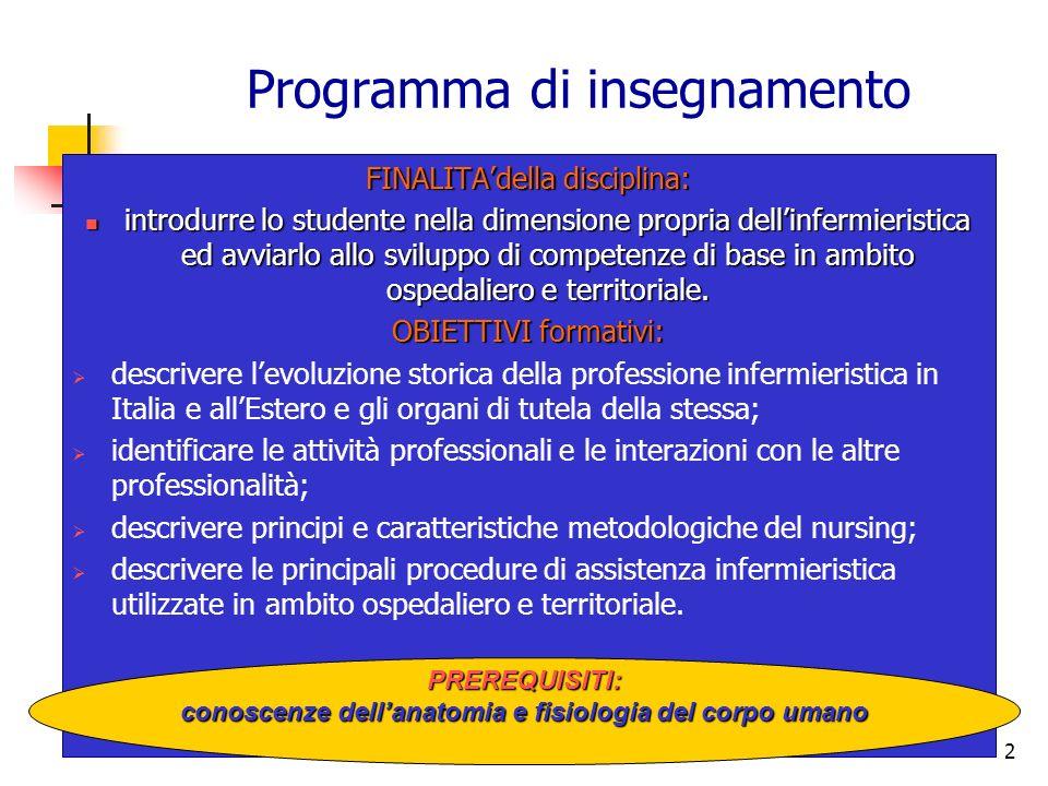a cura di : dott.ssa Alida Favro2 Programma di insegnamento FINALITAdella disciplina: introdurre lo studente nella dimensione propria dellinfermieristica ed avviarlo allo sviluppo di competenze di base in ambito ospedaliero e territoriale.