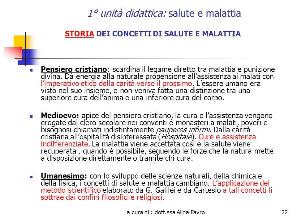 a cura di : dott.ssa Alida Favro22 1° unità didattica: salute e malattia STORIA DEI CONCETTI DI SALUTE E MALATTIA Pensiero cristiano: scardina il lega