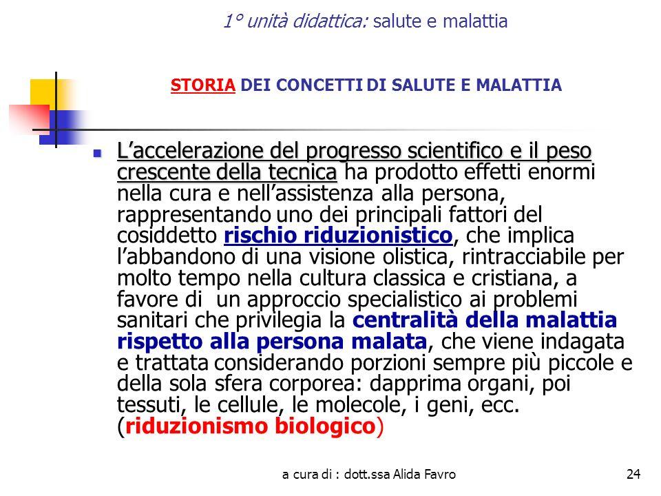 a cura di : dott.ssa Alida Favro24 1° unità didattica: salute e malattia STORIA DEI CONCETTI DI SALUTE E MALATTIA Laccelerazione del progresso scienti