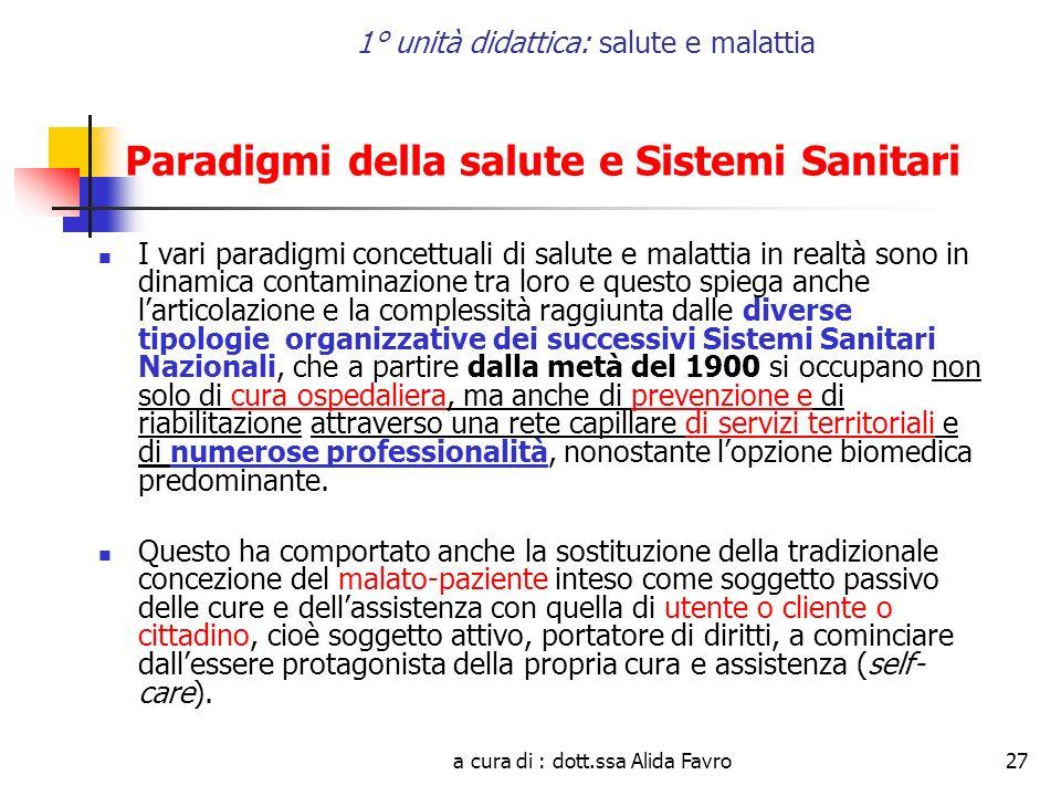 a cura di : dott.ssa Alida Favro27 1° unità didattica: salute e malattia Paradigmi della salute e Sistemi Sanitari I vari paradigmi concettuali di sal