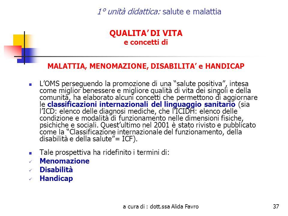 a cura di : dott.ssa Alida Favro37 1° unità didattica: salute e malattia QUALITA DI VITA e concetti di MALATTIA, MENOMAZIONE, DISABILITA e HANDICAP LO