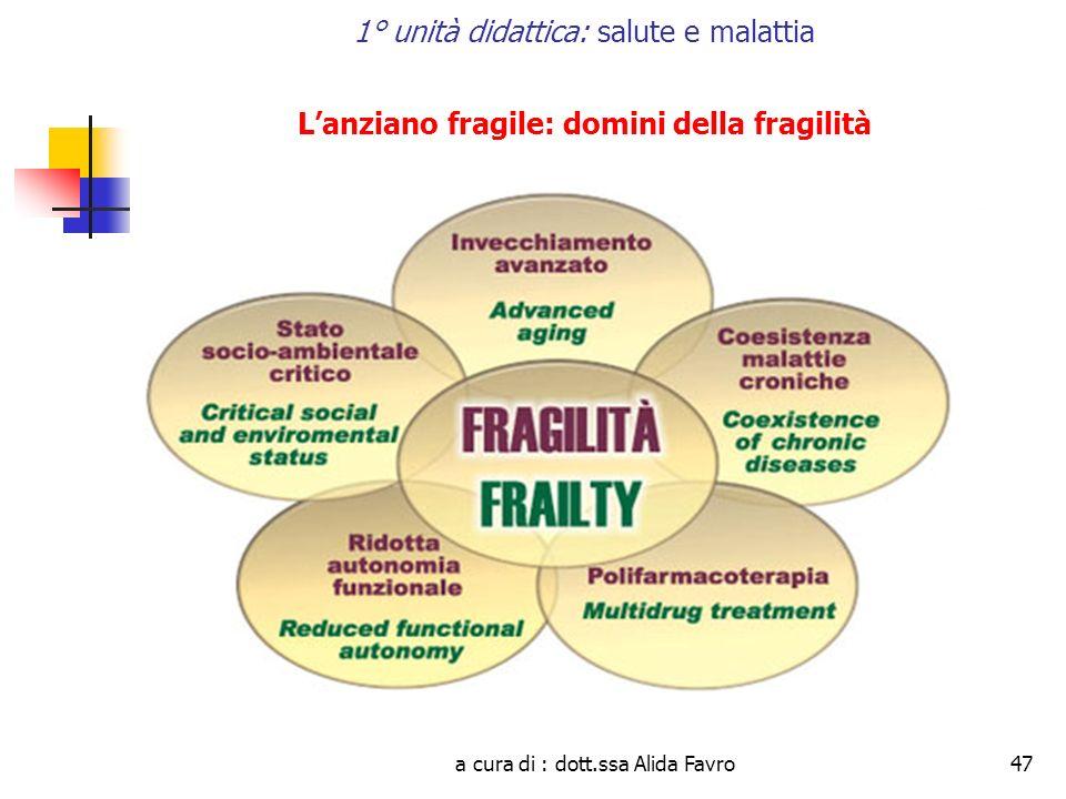 a cura di : dott.ssa Alida Favro47 1° unità didattica: salute e malattia Lanziano fragile: domini della fragilità