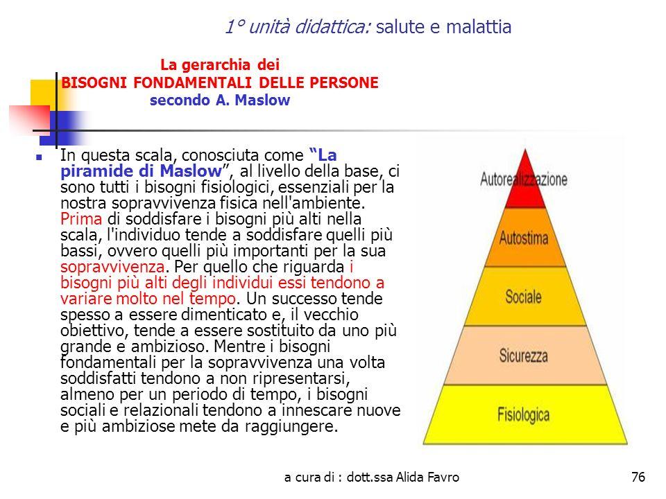 a cura di : dott.ssa Alida Favro76 1° unità didattica: salute e malattia La gerarchia dei BISOGNI FONDAMENTALI DELLE PERSONE secondo A. Maslow In ques