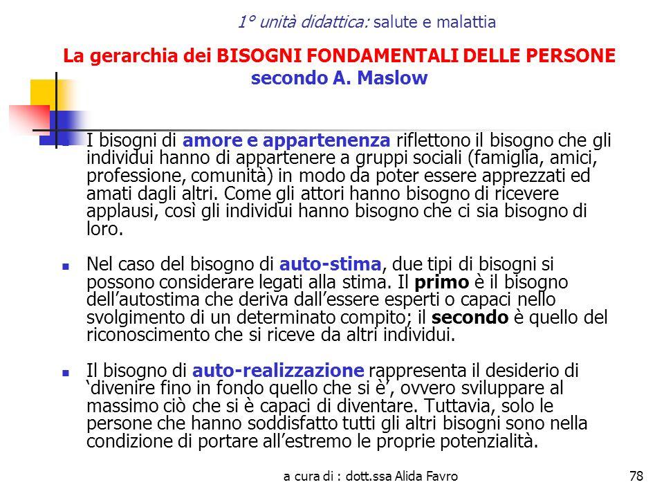 a cura di : dott.ssa Alida Favro78 1° unità didattica: salute e malattia La gerarchia dei BISOGNI FONDAMENTALI DELLE PERSONE secondo A. Maslow I bisog