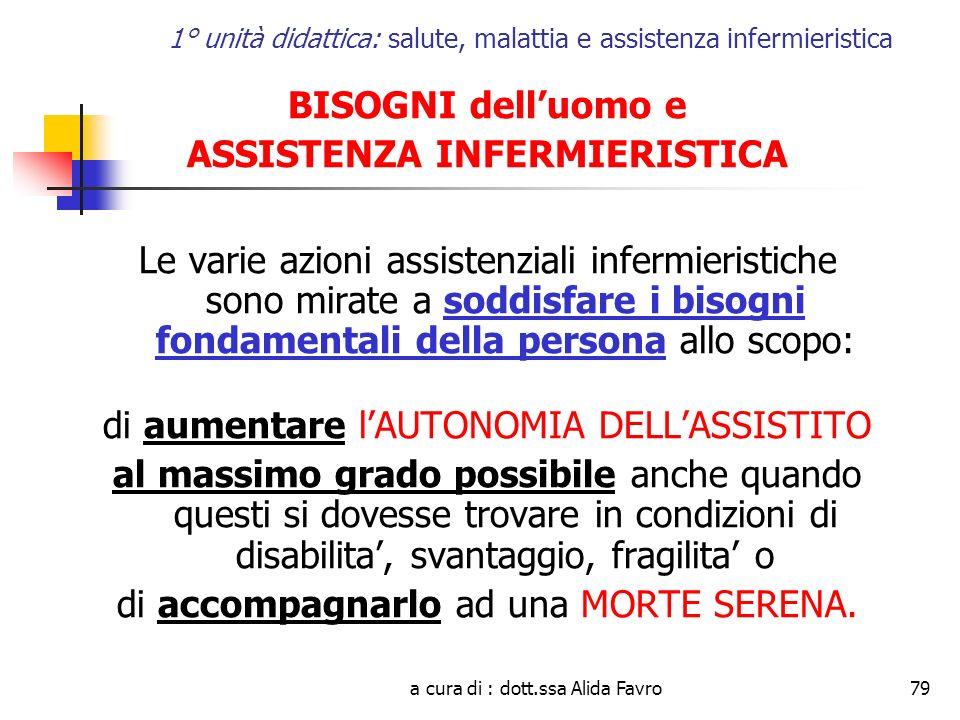 a cura di : dott.ssa Alida Favro79 1° unità didattica: salute, malattia e assistenza infermieristica BISOGNI delluomo e ASSISTENZA INFERMIERISTICA Le