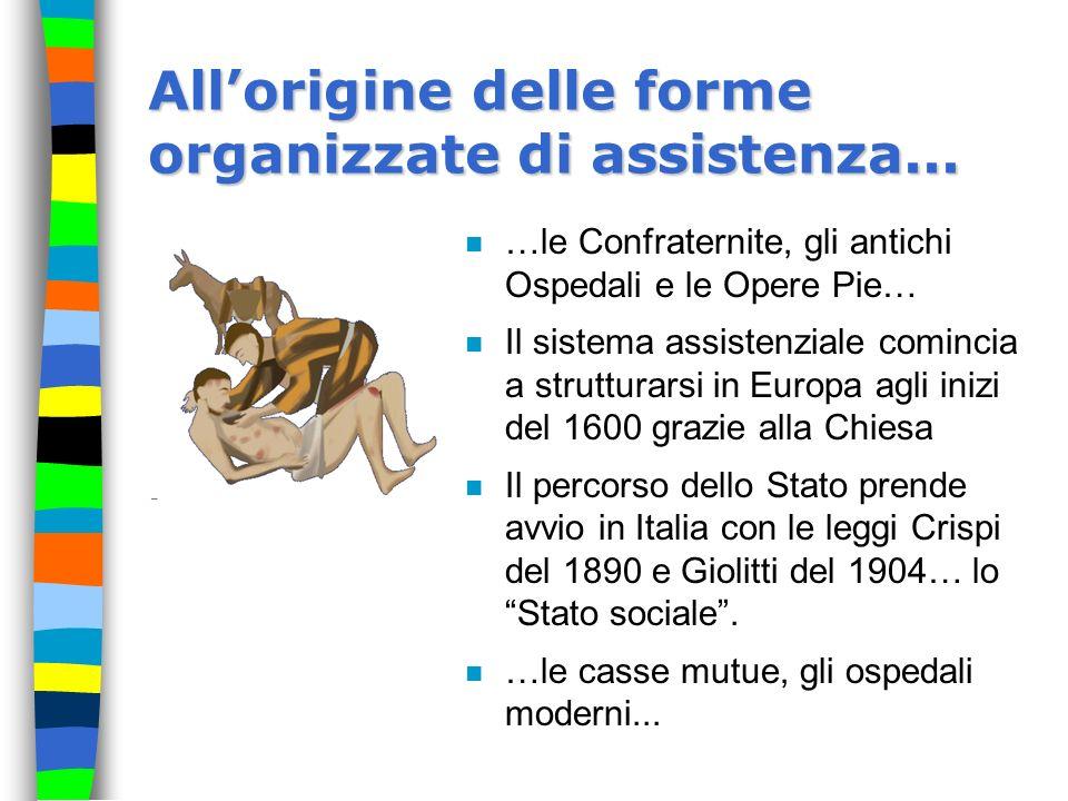 Allorigine delle forme organizzate di assistenza... n …le Confraternite, gli antichi Ospedali e le Opere Pie… n Il sistema assistenziale comincia a st