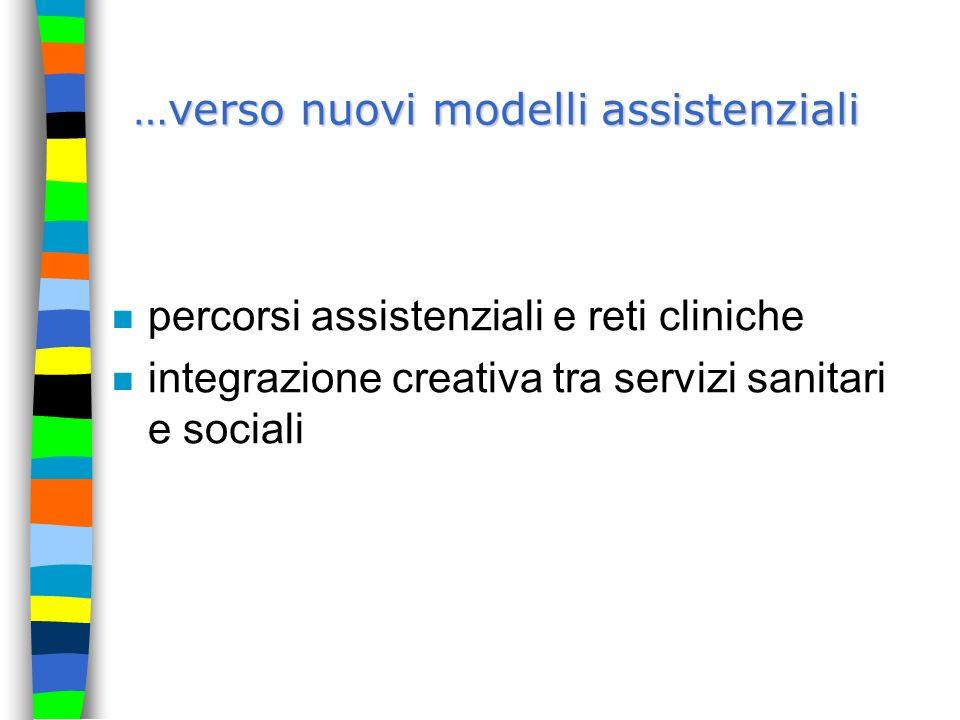…verso nuovi modelli assistenziali n percorsi assistenziali e reti cliniche n integrazione creativa tra servizi sanitari e sociali