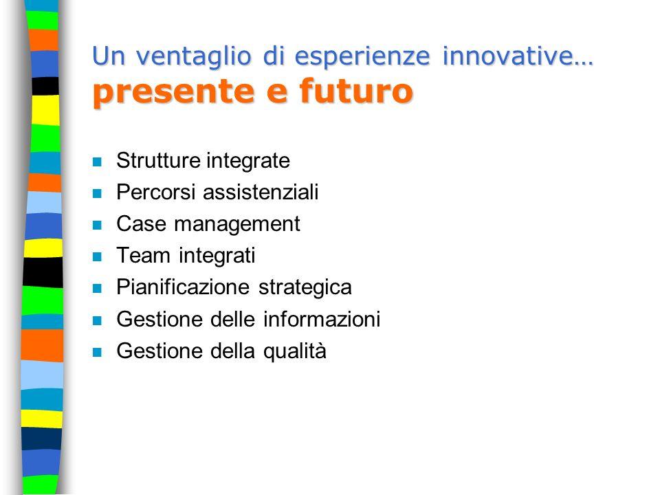 Un ventaglio di esperienze innovative… presente e futuro n Strutture integrate n Percorsi assistenziali n Case management n Team integrati n Pianifica