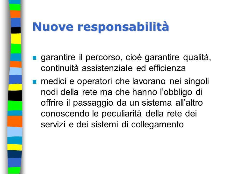 Nuove responsabilità n garantire il percorso, cioè garantire qualità, continuità assistenziale ed efficienza n medici e operatori che lavorano nei sin