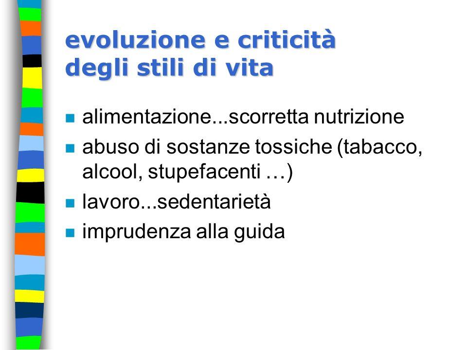 evoluzione e criticità degli stili di vita n alimentazione...scorretta nutrizione n abuso di sostanze tossiche (tabacco, alcool, stupefacenti …) n lav