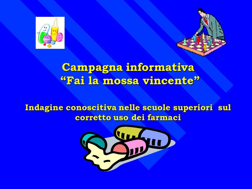 Campagna informativa Fai la mossa vincente Fai la mossa vincente Indagine conoscitiva nelle scuole superiori sul corretto uso dei farmaci