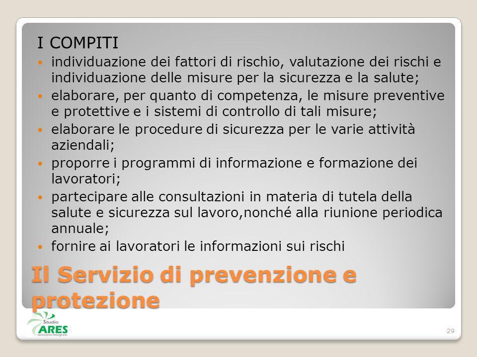 Il Servizio di prevenzione e protezione I COMPITI individuazione dei fattori di rischio, valutazione dei rischi e individuazione delle misure per la s