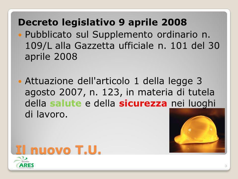 Decreto legislativo 9 aprile 2008 Pubblicato sul Supplemento ordinario n. 109/L alla Gazzetta ufficiale n. 101 del 30 aprile 2008 Attuazione dell'arti