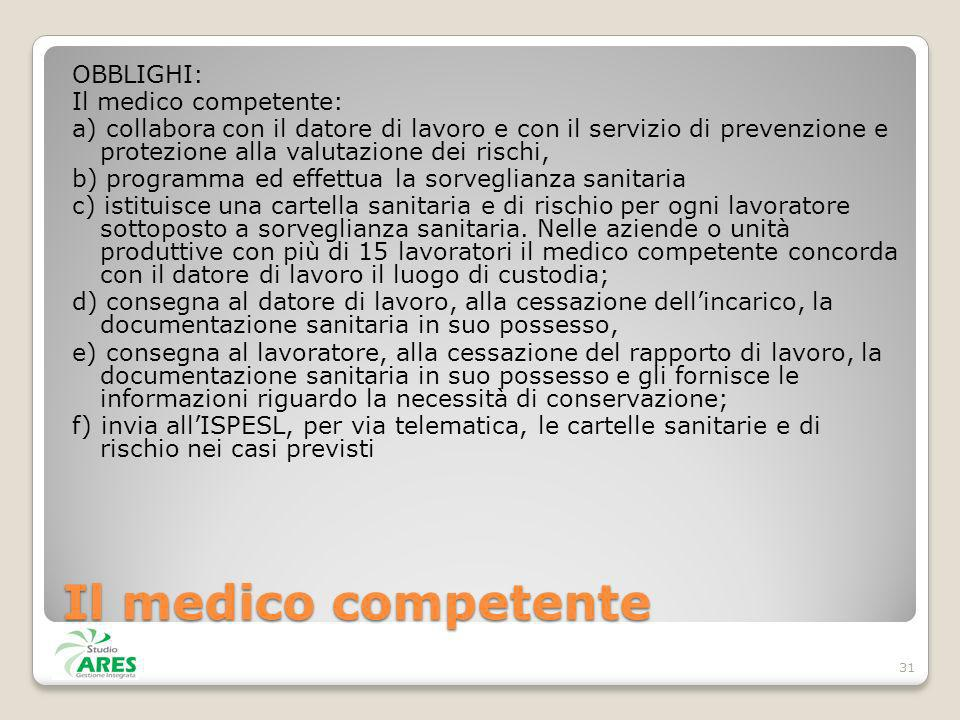 Il medico competente OBBLIGHI: Il medico competente: a) collabora con il datore di lavoro e con il servizio di prevenzione e protezione alla valutazio