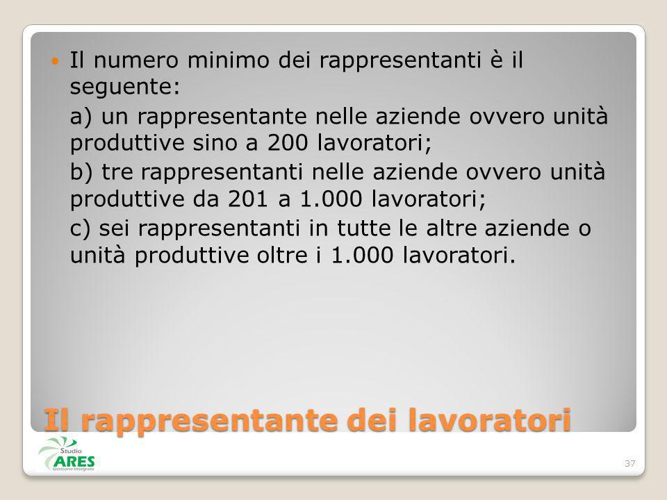 Il rappresentante dei lavoratori Il numero minimo dei rappresentanti è il seguente: a) un rappresentante nelle aziende ovvero unità produttive sino a