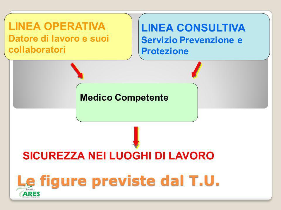 LINEA CONSULTIVA Servizio Prevenzione e Protezione LINEA OPERATIVA Datore di lavoro e suoi collaboratori Medico Competente SICUREZZA NEI LUOGHI DI LAV