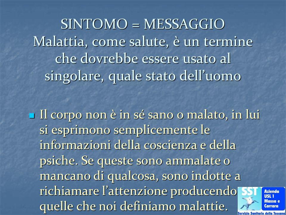 SINTOMO = MESSAGGIO Malattia, come salute, è un termine che dovrebbe essere usato al singolare, quale stato delluomo Il corpo non è in sé sano o malat