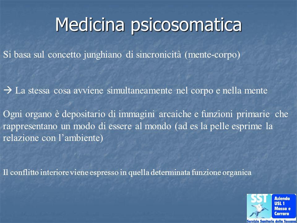 Medicina psicosomatica Si basa sul concetto junghiano di sincronicità (mente-corpo) La stessa cosa avviene simultaneamente nel corpo e nella mente Ogn