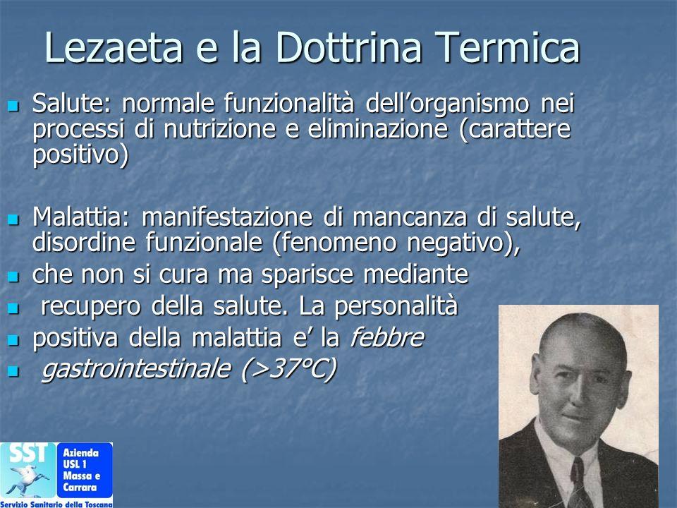 Lezaeta e la Dottrina Termica Salute: normale funzionalità dellorganismo nei processi di nutrizione e eliminazione (carattere positivo) Salute: normal