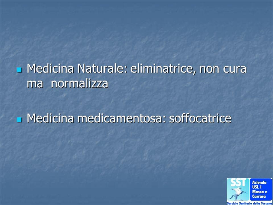 Medicina Naturale: eliminatrice, non cura ma normalizza Medicina Naturale: eliminatrice, non cura ma normalizza Medicina medicamentosa: soffocatrice M