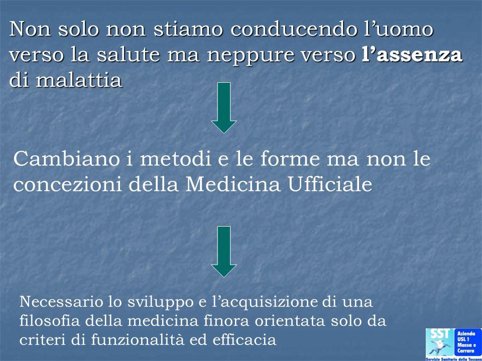 Cambiano i metodi e le forme ma non le concezioni della Medicina Ufficiale Necessario lo sviluppo e lacquisizione di una filosofia della medicina fino