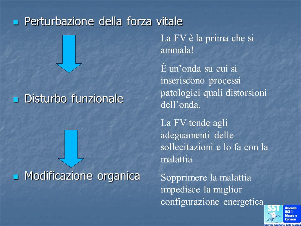 Perturbazione della forza vitale Perturbazione della forza vitale Disturbo funzionale Disturbo funzionale Modificazione organica Modificazione organic