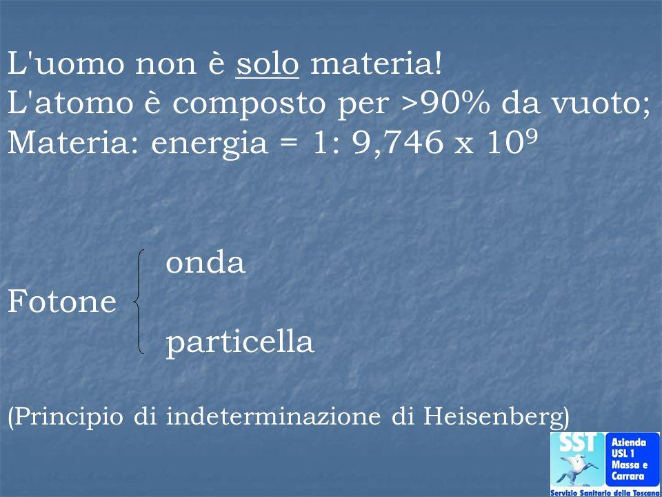 L'uomo non è solo materia! L'atomo è composto per >90% da vuoto; Materia: energia = 1: 9,746 x 10 9 onda Fotone particella (Principio di indeterminazi