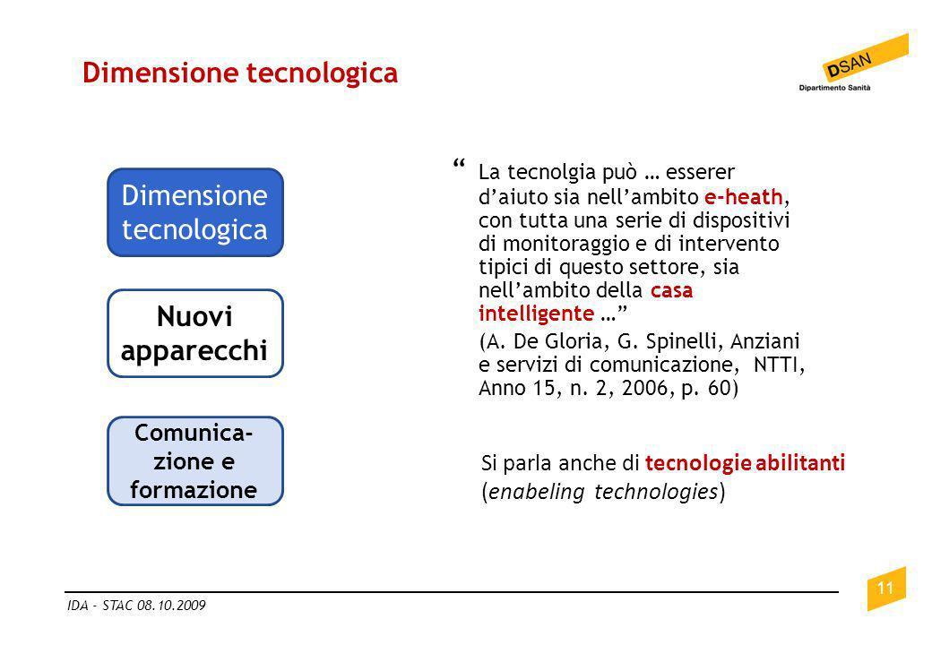 Dimensione tecnologica 11 IDA - STAC 08.10.2009 Dimensione tecnologica Comunica- zione e formazione Nuovi apparecchi La tecnolgia può … esserer daiuto