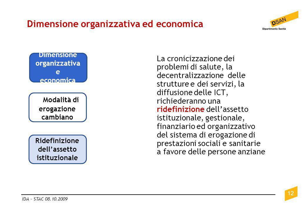 Dimensione organizzativa ed economica 12 IDA - STAC 08.10.2009 Dimensione organizzativa e economica L Modalità di erogazione cambiano Ridefinizione de