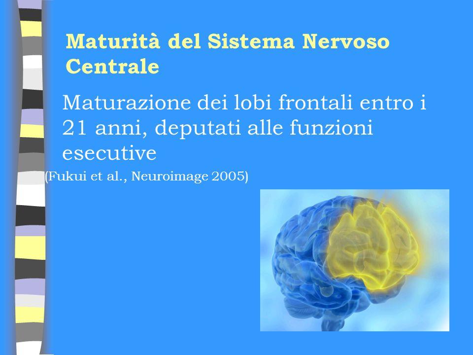 Maturità del Sistema Nervoso Centrale Maturazione dei lobi frontali entro i 21 anni, deputati alle funzioni esecutive (Fukui et al., Neuroimage 2005)