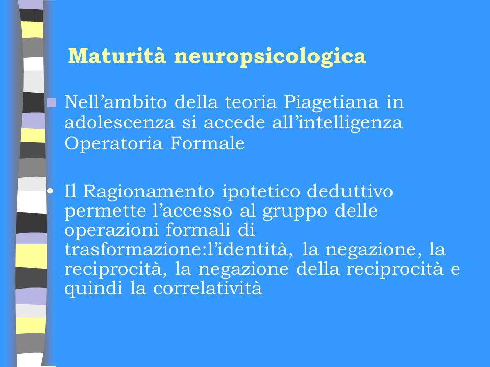 Maturità neuropsicologica Nellambito della teoria Piagetiana in adolescenza si accede allintelligenza Operatoria Formale Il Ragionamento ipotetico ded