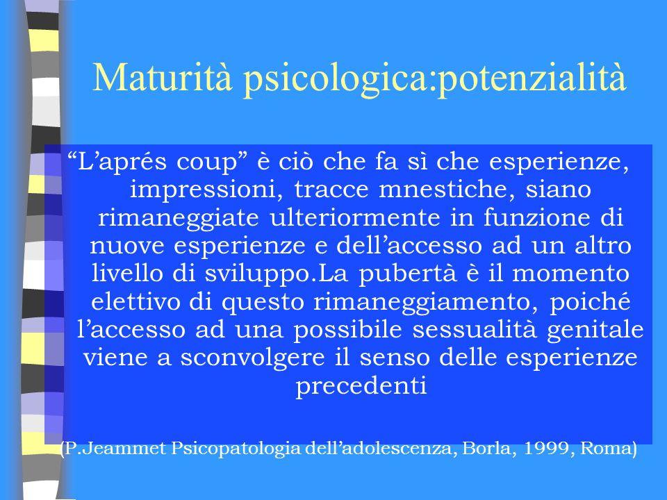 Maturità psicologica:potenzialità Laprés coup è ciò che fa sì che esperienze, impressioni, tracce mnestiche, siano rimaneggiate ulteriormente in funzi