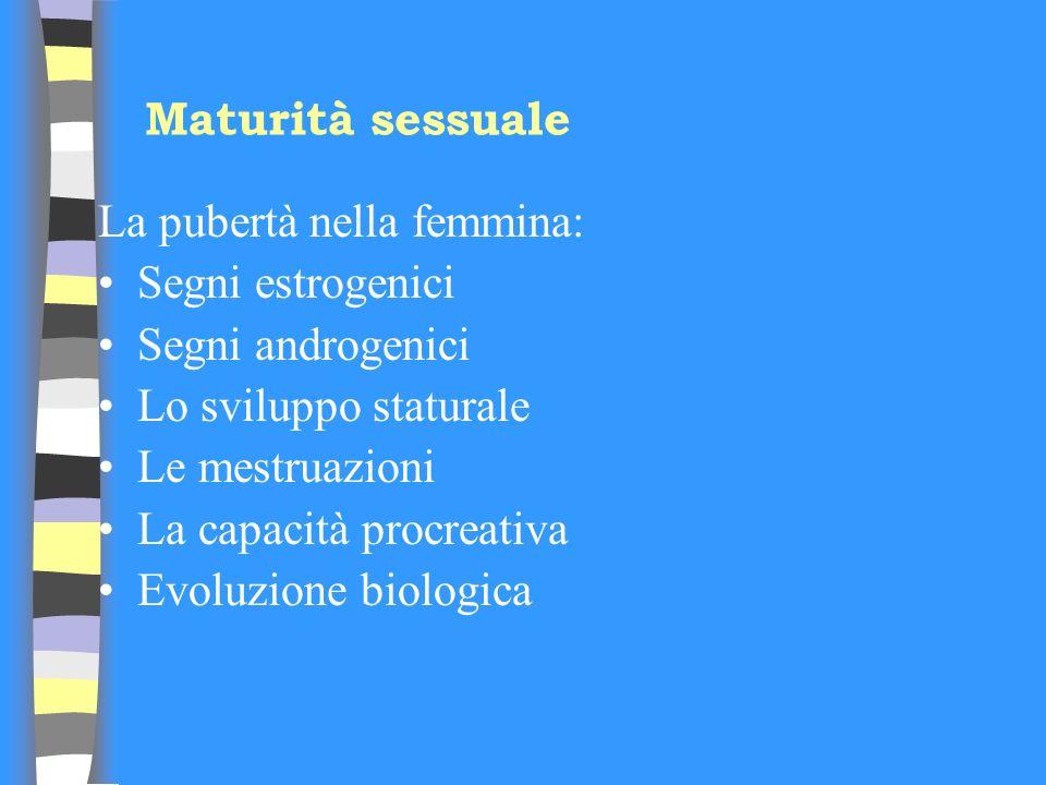 Maturità sessuale La pubertà nella femmina: Segni estrogenici Segni androgenici Lo sviluppo staturale Le mestruazioni La capacità procreativa Evoluzio