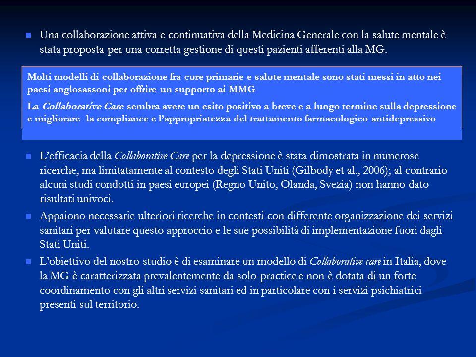 La Regione Emilia-Romagna, con il Progetto Psichiatria e Medicina di Base(2000-2002) prima e il Progetto Giuseppe Leggieri (2004) poi, ha avviato un programma di integrazione tra Medicina Generale e salute mentale, così da favorire interventi più tempestivi ed appropriati nei confronti dei pazienti adulti affetti da disturbi mentali.