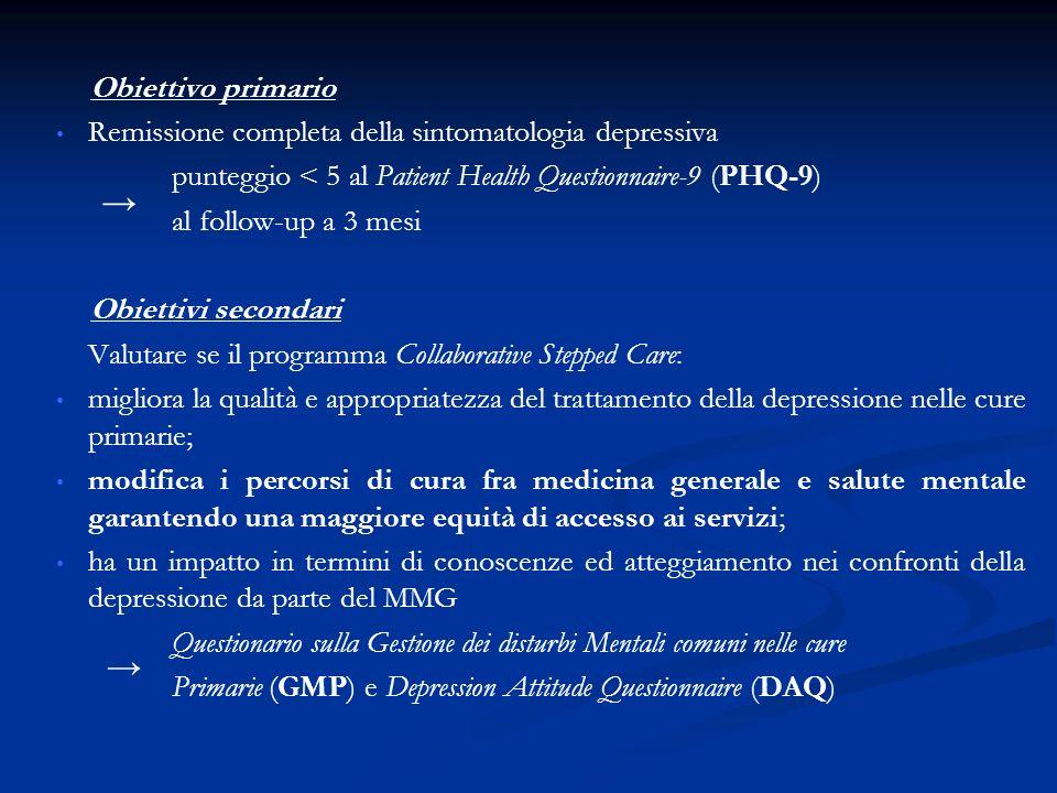 Obiettivo primario Remissione completa della sintomatologia depressiva punteggio < 5 al Patient Health Questionnaire-9 (PHQ-9) al follow-up a 3 mesi Obiettivi secondari Valutare se il programma Collaborative Stepped Care: migliora la qualità e appropriatezza del trattamento della depressione nelle cure primarie; modifica i percorsi di cura fra medicina generale e salute mentale garantendo una maggiore equità di accesso ai servizi; ha un impatto in termini di conoscenze ed atteggiamento nei confronti della depressione da parte del MMG Questionario sulla Gestione dei disturbi Mentali comuni nelle cure Primarie (GMP) e Depression Attitude Questionnaire (DAQ)