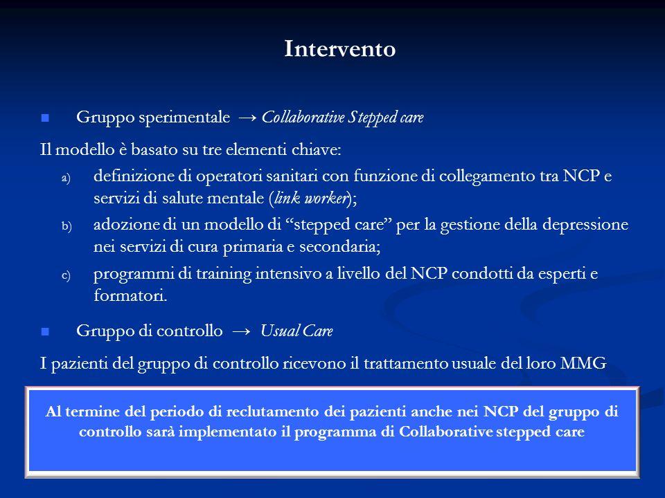 Intervento Gruppo sperimentale Collaborative Stepped care Il modello è basato su tre elementi chiave: a) a) definizione di operatori sanitari con funz