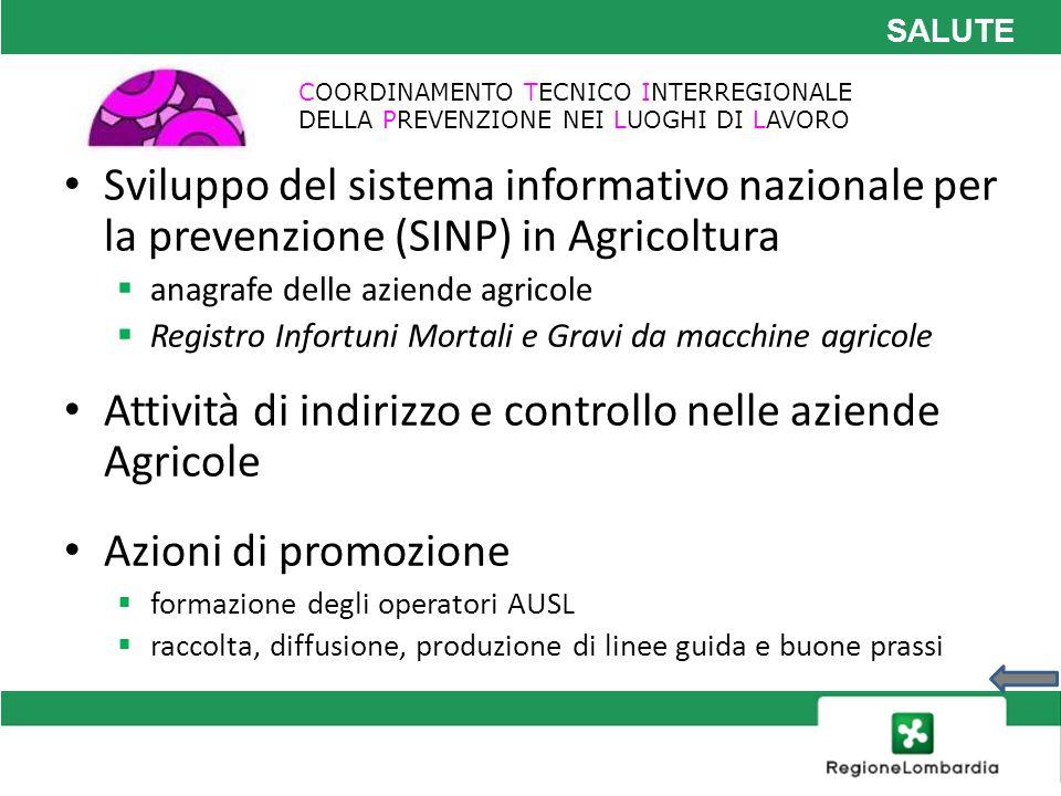 SALUTE Sviluppo del sistema informativo nazionale per la prevenzione (SINP) in Agricoltura anagrafe delle aziende agricole Registro Infortuni Mortali