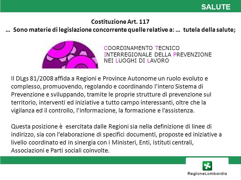 SALUTE COORDINAMENTO TECNICO INTERREGIONALE DELLA PREVENZIONE NEI LUOGHI DI LAVORO Il DLgs 81/2008 affida a Regioni e Province Autonome un ruolo evolu