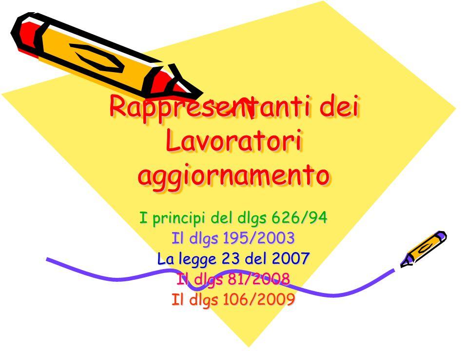 Rappresentanti dei Lavoratori aggiornamento I principi del dlgs 626/94 Il dlgs 195/2003 La legge 23 del 2007 Il dlgs 81/2008 Il dlgs 106/2009